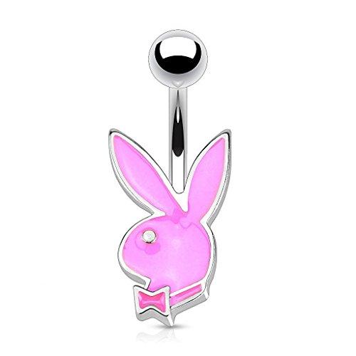 Offizielle lizenzierte Playboy-Emaille Pink Bunny und Bow-Tie Tragus oder Knorpel Piercing Dicke: 1.2mm Länge: 6mm Ball Größe: 4mm Material: Chirurgische (Männliche Bunny Kostüme Playboy)