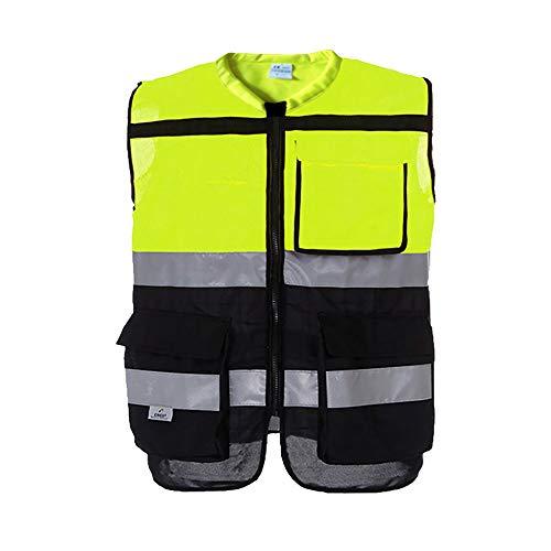 OYWNF 3M Chaleco Reflectante de Seguridad para automóviles Seguridad en la construcción Traje de Advertencia de tráfico Ciclismo Correr Caminar Multibolsillo Alta Visibilidad (Color : A, Size : M)
