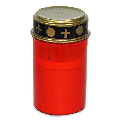 HC-Handel 913166 Grablicht Grabkerze mit LED Flamme Dauergrablicht 12 x 7 cm rot/gold