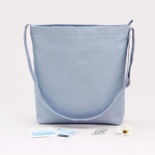 Schultertaschen, Tatis Frauen Canvas große Kapazität Normallack Single Schultered schief Kreuz Tasche (Schwarz) Hellblau