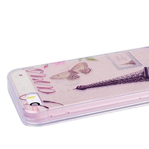 WE LOVE CASE iPhone 5S / 5 / SE Hülle Glitzern Transparent Schwarz iPhone 5S / 5 / SE Hülle Silikon Weich Feder Campanula Handyhülle Tasche für Mädchen Elegant Backcover , Soft TPU Flexibel Case Handy Tower