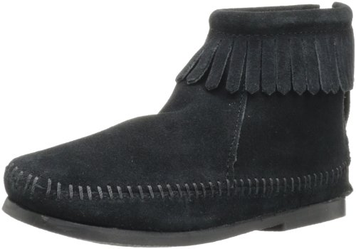 Minnetonka Unisex-Kinder Back Zip Boot Kurzschaft Stiefel Schwarz (Black) 33/34 EU