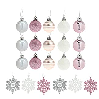 Amosfun 24 Piezas Adornos navideños Bolas moler Plata Rosa Colgando Diferentes adorables Bolas de Navidad Adornos para árboles de Navidad decoración de árboles de Navidad