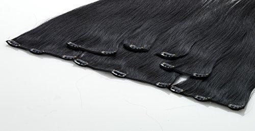 Echthaar Clip In Extensions, Haarlänge 40cm, Set mit 7 Tressen, 15 Clips , Haarverlängerung (01 - schwarz)