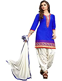 Fkart Women's Blue And White Embroidered Cotton Semi Stitched Patiala Suit With Dupatta (FK-1015_FREE_SIZE)