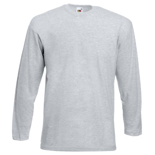 Fruit Of The Loom Herren Langarm T-Shirt mit Rundhalsausschnitt Grau - Heather Grey