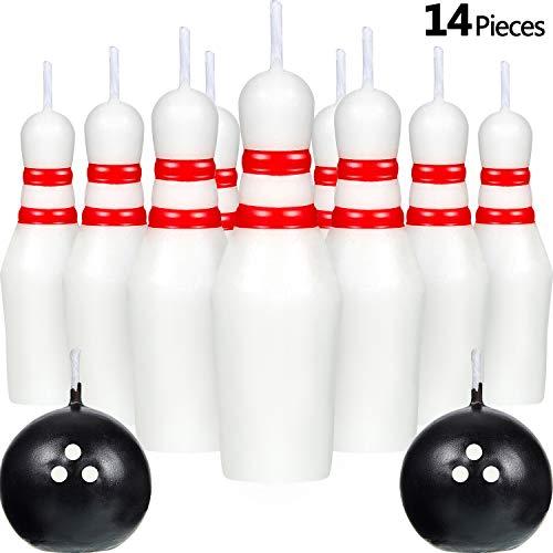 Gejoy Bowling Kerze Set, Einschließlich Kugelkerzen und Bowling Nadel Kerzen Sport Kuchen Kerzen für Hochzeit Geburtstag Party Liefern (14)