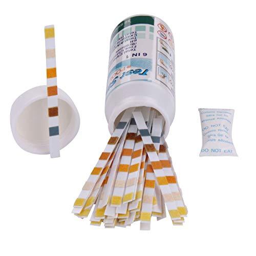 Blueborn 50 Teststreifen TS 6-in-1 Wassertester für Chlor PH-Wert Alkalinität Cyuanur & Wasserhärte