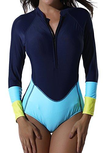 SEASUM Costume da bagno Tankini Rashguard Surfing Maniche Lunghe un Pezzo Bikini Donna BLU Scuro Plus Azzurro Taglia S
