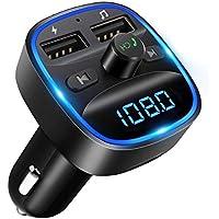 [2020 Version] LENCENT Transmetteur FM Bluetooth, Bluetooth Lecteur MP3 Adaptateur Radio sans Fil Kit Émetteur FM Voiture Chargeur, Appel Mains Libres, 2 USB Port 5V/2.4A1A, Support Carte SD/Clé USB