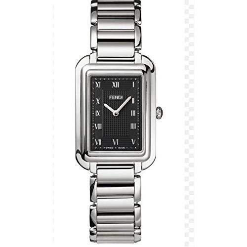 Fendi Men's Steel Bracelet & Case Anti Reflective Sapphire Swiss Quartz Black Dial Analog Watch F701011000