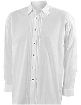 Moschen-Bayern Best-Quality Trachtenhemd Herren Langarm - 100% Baumwolle - Standardhemd mit Biesen - Weiß