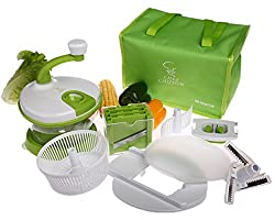 CHEF CHIFFON All-In-One Kitchen Manual Hand Operated Food Processor Prep Machine - Salad Spinner, Mixer, Beater, Blend, Chop, Slice, Shred, Julienne, Juice (Include Bonus Lunch Cooler Bag)