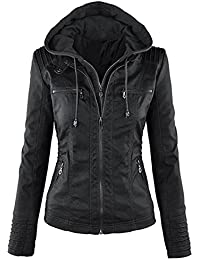 OUO Hooded Faux leather Jacket Motorcyle Detachable Full Zipper Outerwear