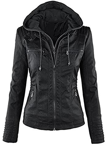 Womens Hooded Classic Faux Leather Hooded Jackets Zip Up Coat Outwear
