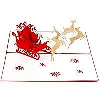 Natale 3D Pop Up Babbo Natale Renna Ride Cartolina d'auguri dell'invito del Partito Carta Regalo di Natale con Busta Bianca - Partita Busta