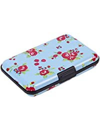Aluminum Rfid Blocking Wallet Identity Protection Travel Floral Printing Credit Card Holder - Business Card Case...