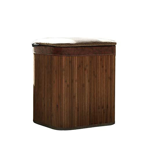 FSSFD FS Poggiapiedi, Sgabelli Portaoggetti, Divano Ottomana Domestico, Sgabello Cambio Scarpe, Sgabello Ascendente (Color : Brown Bamboo, Size : Small)