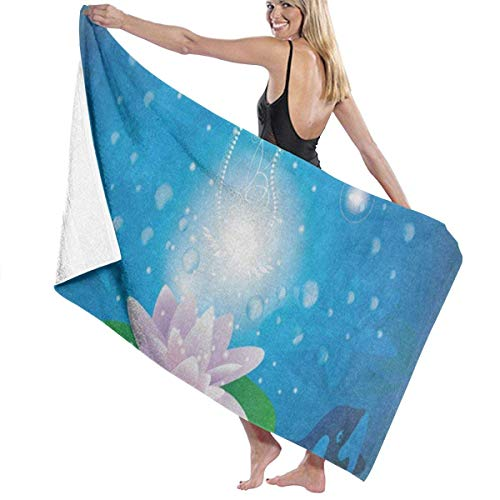 xcvgcxcvasda Serviette de bain, Water Lily Whale Ocean Personalized Custom Women Men Quick Dry Lightweight Beach & Bath Blanket Great for Beach Trips, Pool, Swimming and Camping 31