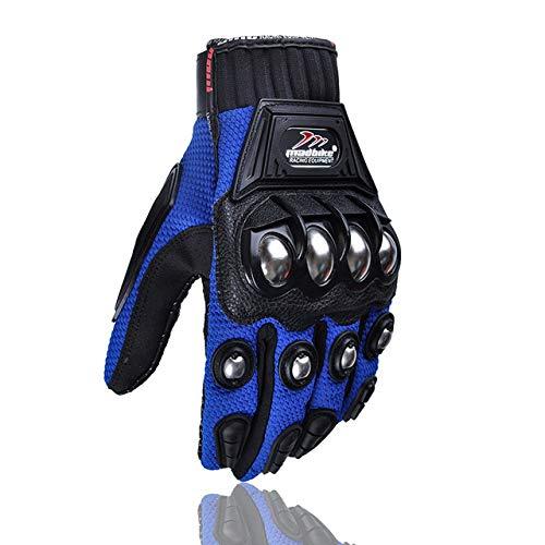 LanLan Protezione Motocross, Guanti Moto Full Finger Guanti Racing Guanti Protettivi Guanti Invernali per Uomo - Blu, L