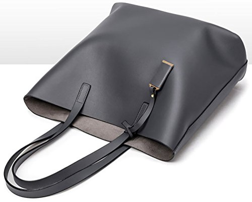 Damen Kunstleder Tote Umhängetasche Handtasche Große große Kapazität 2 Stück Tasche Set (Schwarz) Grau