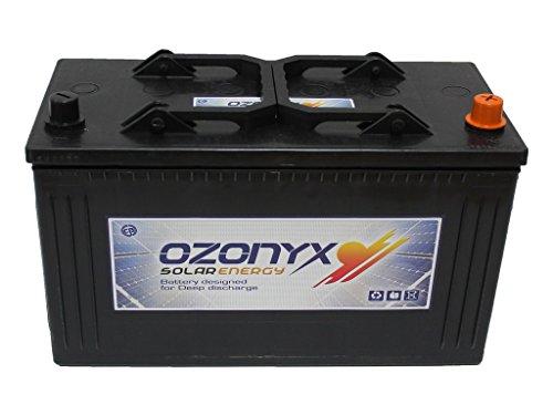 BATERÍAS SOLAR OZONYX SOLAR ABIERTA 125AH Voltaje: 12V. Medidas: 344x 172x 231. mmm Peso: 27.40 Kg. Tipo de batería: Solar, Tracción Monoblock. Bajo mantenimiento. Capacidad en C100: 125Ah y en C20: 110Ah. Placa de separación entre celdas reforzadas....