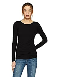 GAP Womens Plain Regular Fit T-Shirt (90771220001_True Black V2_M)
