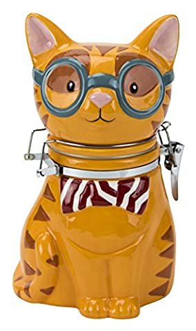 Hinged Jar, Smarty Cat Collection, Hand-painted Earthenware Storage Container by Boston Warehouse