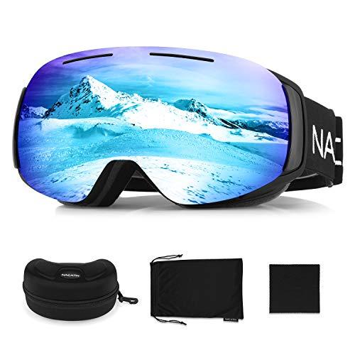 NACATIN Lunette de Ski OTG pour Homme et Femme, Masque de Ski, Anti-Buée, Coupe-Vent, Lunettes de Snowboard,Anti-Reflets 100% Protection UV400 (Bleu)