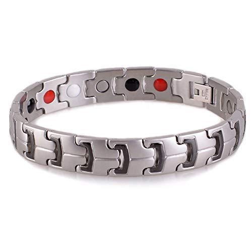 SSC Magnet Armband Edelstahl | silber matt/schwarz | Magnetarmband (2000+ Gauss) | antiallergener Schmuck (316L Chirurgenstahl) | Ideal als Geschenk [SSC-401]