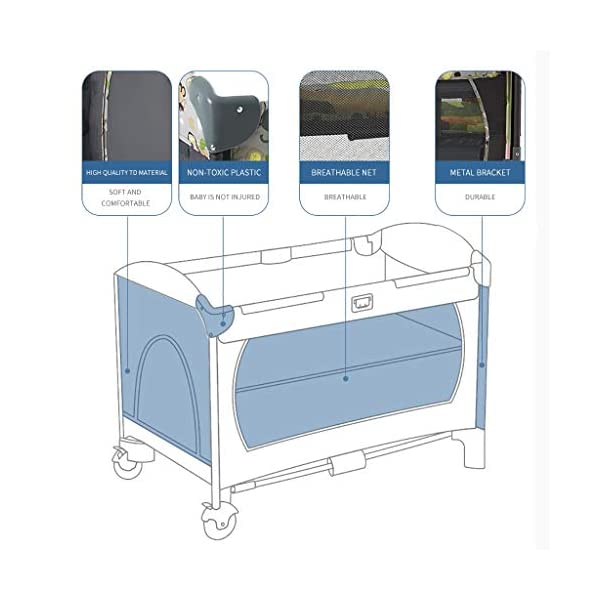 Hh001 Child Cot Child Bed Travel Cot Travel Cot With Mattress Included Child Crib Cot Mattress Folding Crib Cradle Bed Child Play Bed And Childlike Gifts (Color : DARK GRAY, Size : B)  【Crib material】: This baby crib has no paint, no formaldehyde, no harmful substances to the baby, and gives the baby a comfortable sleeping environment; the overall use of high-quality TD fabric is soft and comfortable; the corners are made of environmentally-friendly plastic materials. It is non-toxic and will not hurt the baby; the bracket is made of high-quality alloy material, which is durable and bears heavy weight. 【Crib Portable Design】: This crib has a folding design, easy to carry, travel, go to a friend's house to carry; there is a roller design under the bed, easy to move; when you are at home, if you do not need it, you It can be folded up without taking up space. 【Crib transparent mesh design】: The crib is surrounded by a transparent mesh design, which is not only refreshing and breathable, but also does not block your view, allowing you to observe your baby's every move while lying in bed. 5