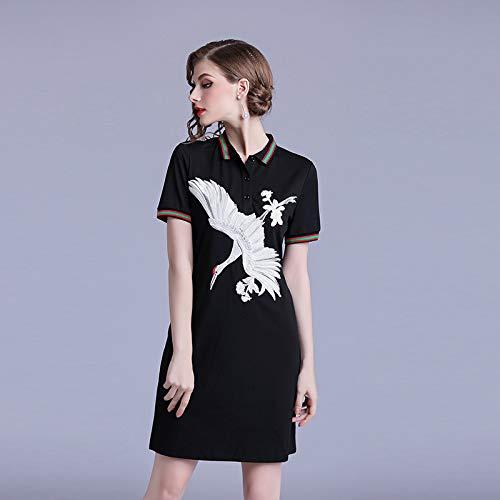 Kontrast Kragen Kleid Shirt (QUNLIANYI Ballkleid Lang Damen Tüll Frauen Kontrast Farbe Kran Stickerei Kleid Stil T Shirt Schwarz Kleid Turn Down Kragen Kurzarm Mini Kleid M)