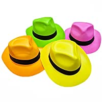 Novelty Place [Party Stars Neon Fedora Plastic Party Hats - Gangster Style & UV Blacklight Glow - for Kids and Adults (Pack of 12)