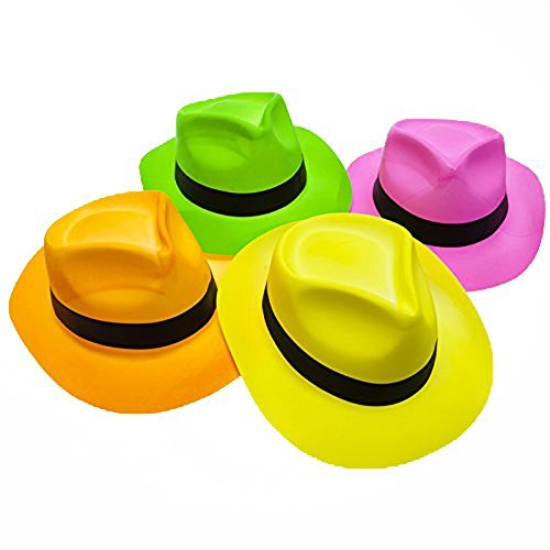 Novelty Place [Partystars Neon Fedora Partyhüte aus Kunststoff - Gangster Style & UV Schwarzlicht Glow - für Kinder und Erwachsene (12er Pack)