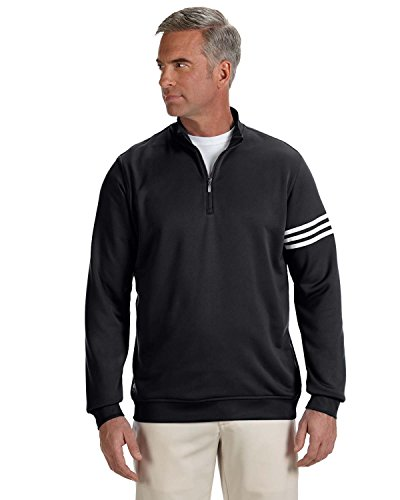Men's climalite� 3-Stripes Pullover BLACK/ WHITE 2XL (Adidas Windshirt)