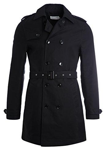 Pier One Trenchcoat für Herren in Schwarz - Kurzer Zweireiher Mantel, XL
