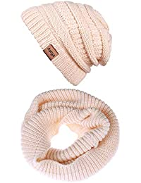 d41f7912d501 Amazon.fr   Bonnet Blanc Femme - Packs bonnet, écharpe et gants ...