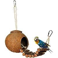 LA VIE Nido de Pajaros Hecho de Cáscara de Coco con Escalera Casa Nido para Loro Agapornis Canario Hámster para Esconderse Natural Nido de Cría de Pajaros Artículos de Incubación Bird Parrot Nest u Accesorios de Decoración