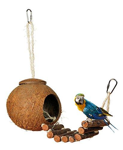 Hianiquaime Vogelspielzeug Kokosnussschale Kauspielzeug aus Naturmaterialien Hängenden Käfig mit Leiter Kleines Tierspielzeug für Papageien Aras Wellensittiche Sittiche