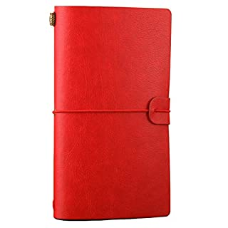Leather Dariy, Alohha Refillable Travelers Journals with Zipper + Card Pocket for Business, Poetry, Writing, Travel, Diary, Sketch (Red)