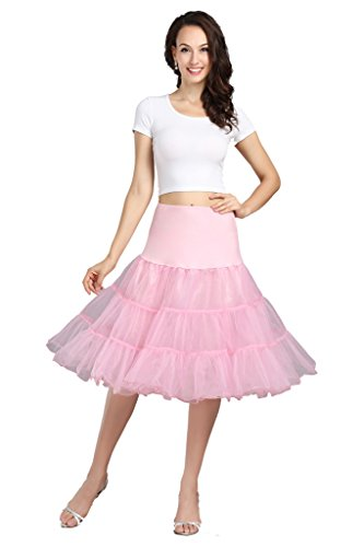 Wowbridal 1950 Petticoat Reifrock Unterrock Petticoat Underskirt Crinoline für Rockabilly Kleid Rosa M