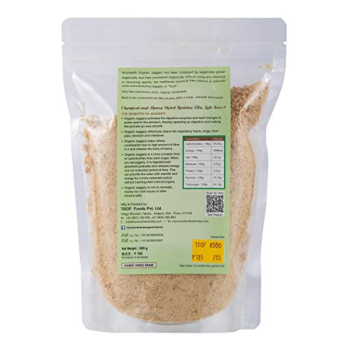 TWO BROTHERS ORGANIC FARMS Crushed Organic Gur Jaggery Powder / Country Sugar / Naatu Sakkarai (500 Gm)