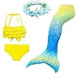 2019 New Mermaid Suit, Color Mermaid Three-Piece + Garland (150# (57.08-59.05 in), DH65 + WJF47)