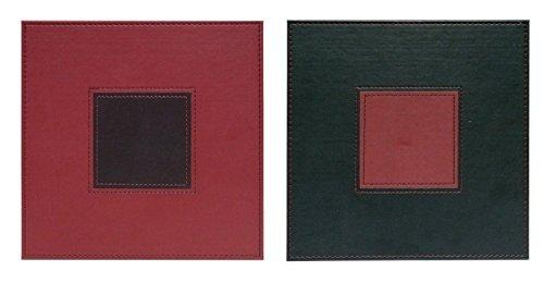 Lot de 4 sets de table carrés point de simili cuir réversible Bordeaux/marron