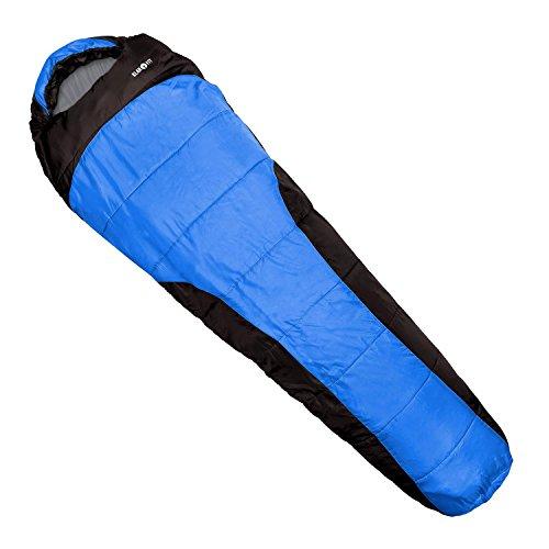 Klarfit Gullfoss • Schlafsack • Mumienschlafsack • Camping-Schlafsack • Sleeping Bag • Outdoor • 4-Jahreszeiten-Schlafzeiten • 350g/m² H4 Hohlfaser • 2-lagig • 4-Loch-Füllung • bis -5 °C • Konturkapuze & Wärmekragen mit Kordelzug • ca. 1,5 kg • blau (Eisbär Zelt)
