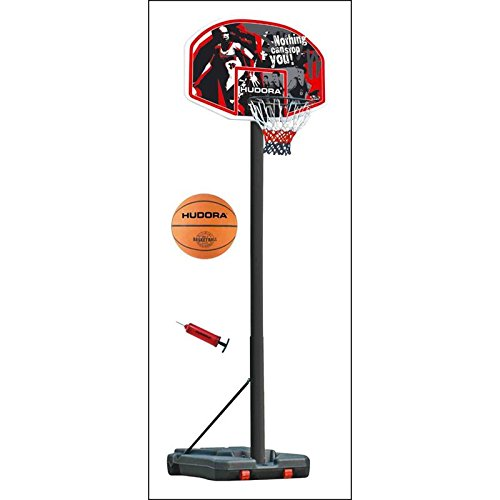 Hudora 71659 Basketballkorb Set Chicago mit Ball + Pumpe verstellbar 2,06 m bis 2,60 m
