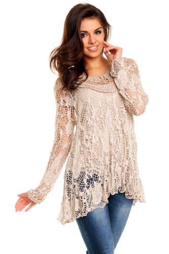 Netz Tunika Spitzen Shirt Lagenlook Zipfel Bluse S M L XL 36 38 40 42 NEU 8054 (Beige) (Spitze Beige Tunika)