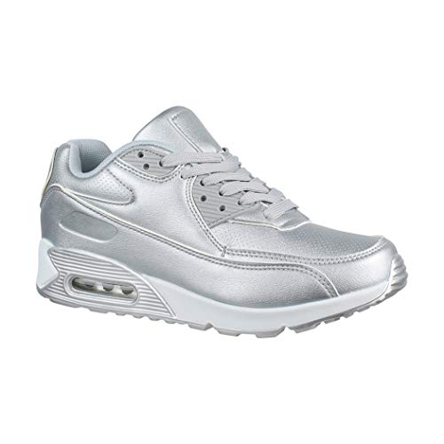 Elara Damen Herren Sneaker | Unisex Sport Laufschuhe | Turnschuhe | Chunkyrayan 11703 Silver-38