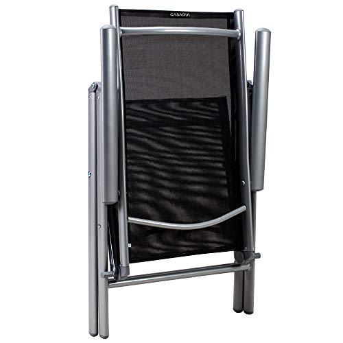 Alu Sitzgruppe 8+1 Sitzgarnitur Gartengarnitur Tischplatte aus Glas + klappbare und neigbare Stühle - 6