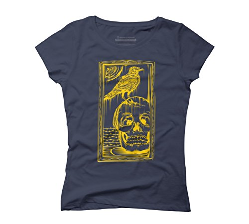 raven & skull Women's Graphic T-Shirt - Design By Humans Navy
